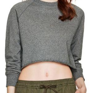 Talula Grey Cropped Cotton Sweatshirt Small